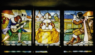 Stained glass window in Hvittrask, the private residence of Eliel Saarinen in Kirkkonummi, Finland